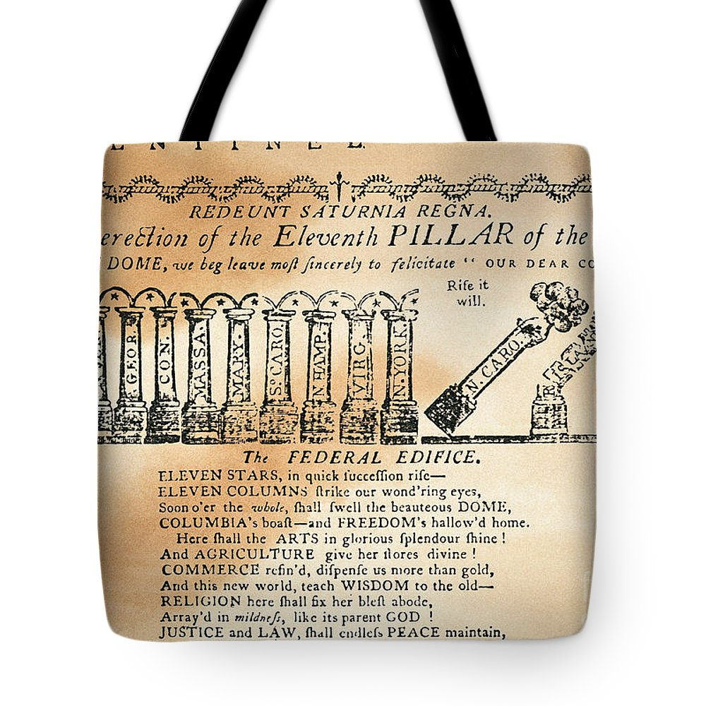 1788 Tote Bag featuring the photograph Cartoon: Constitution by Granger