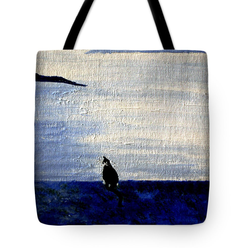 Tote Bag featuring the painting Cat By The Seaside by Monique Mcknight
