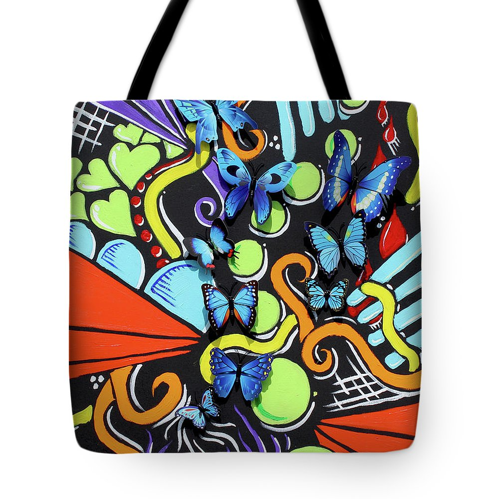 Butterflies Tote Bag featuring the mixed media Catch My Vibe by Shonte Young