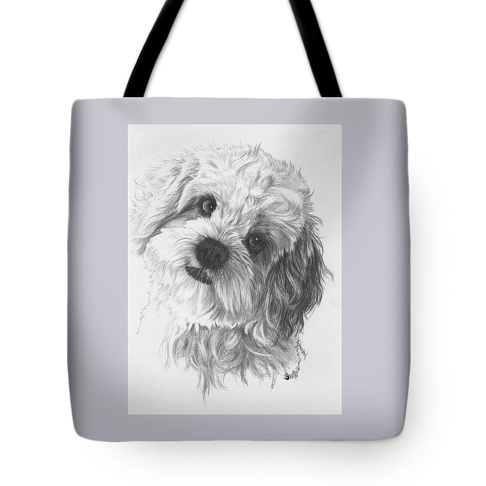 Designer Dog Tote Bag featuring the drawing Cava-chon by Barbara Keith