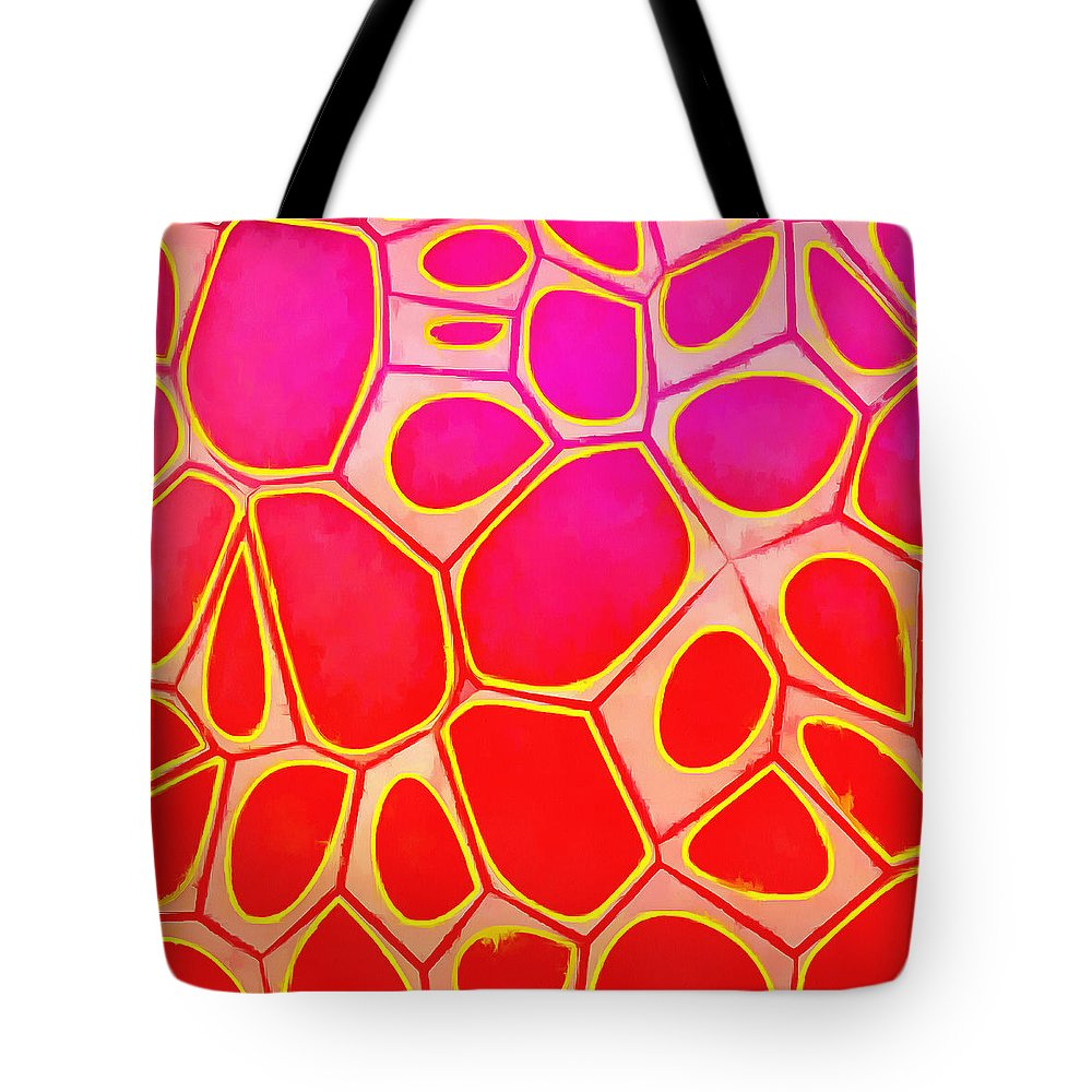 Painting Tote Bag featuring the painting Cells Abstract Three by Edward Fielding