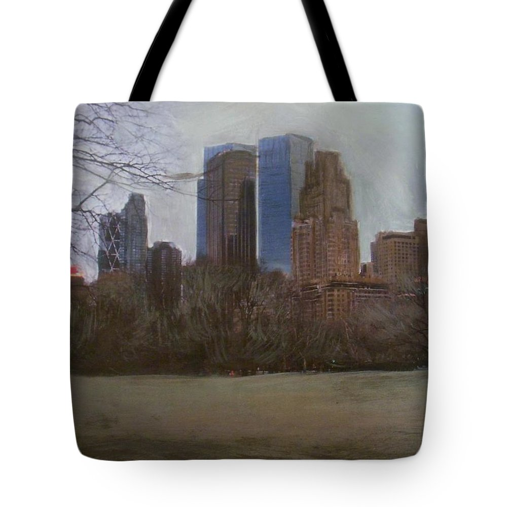 Central Park Tote Bag featuring the painting Central Park by Anita Burgermeister