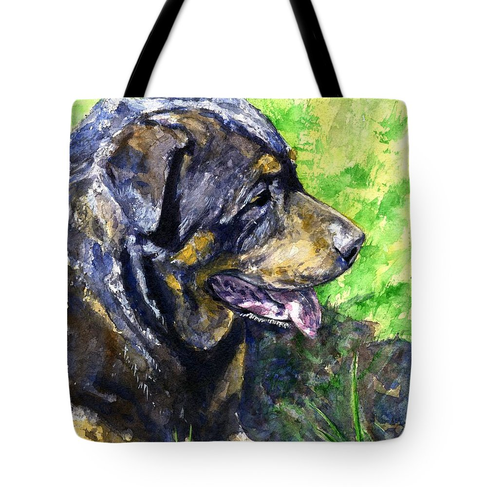 Rottweiler Tote Bag featuring the painting Chaos by John D Benson