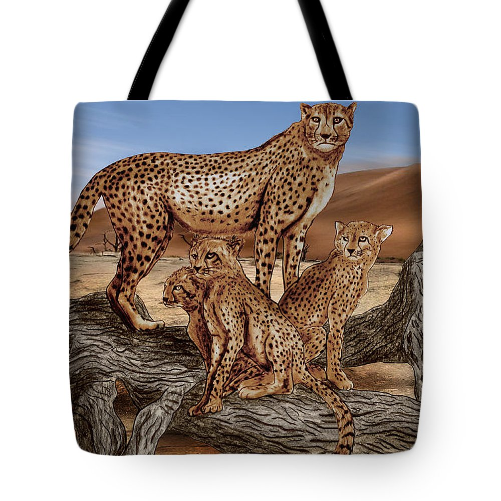 Cheetah Family Tree Tote Bag featuring the drawing Cheetah Family Tree by Peter Piatt
