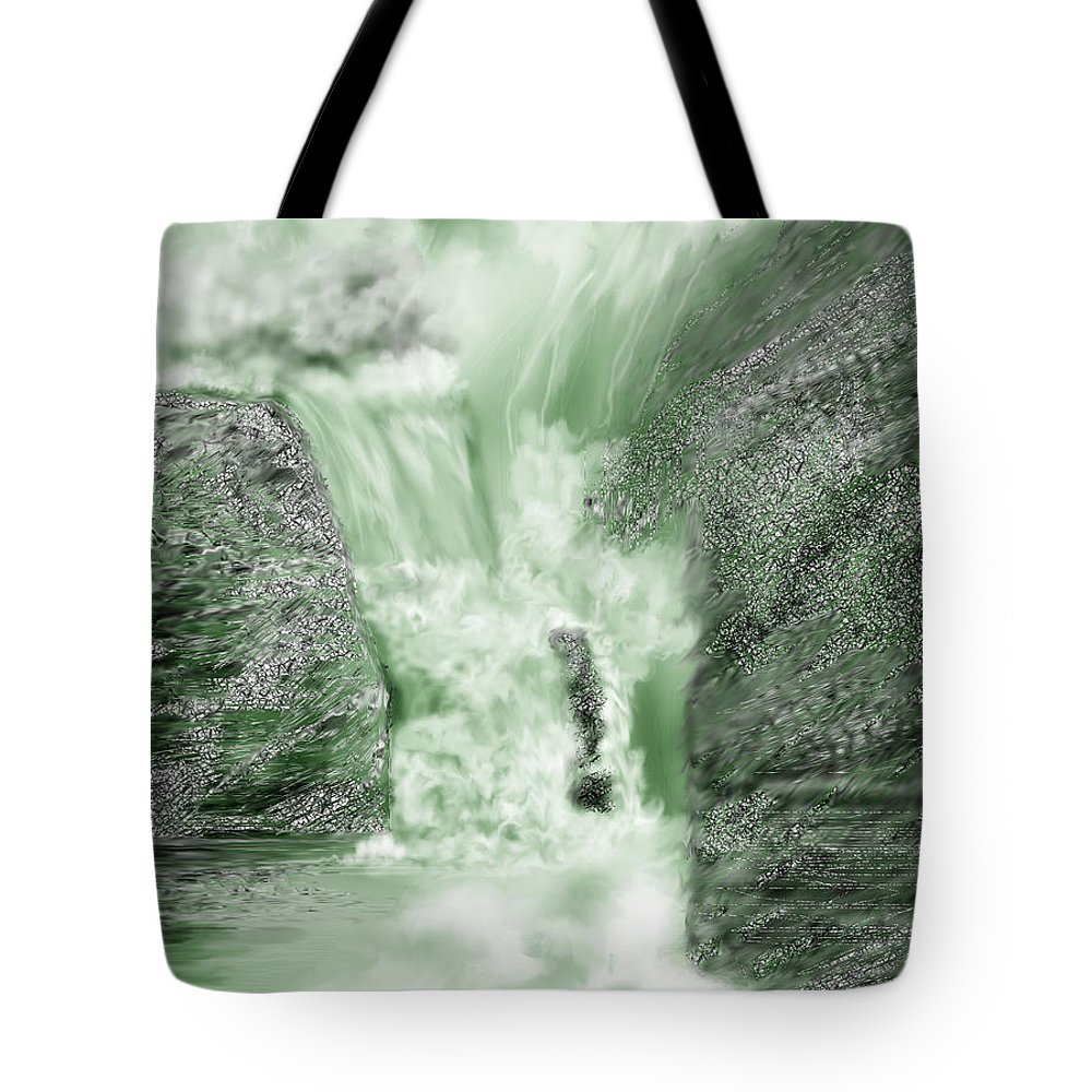 White Water Tote Bag featuring the painting Cherry Creek Lower Run by Anne Norskog