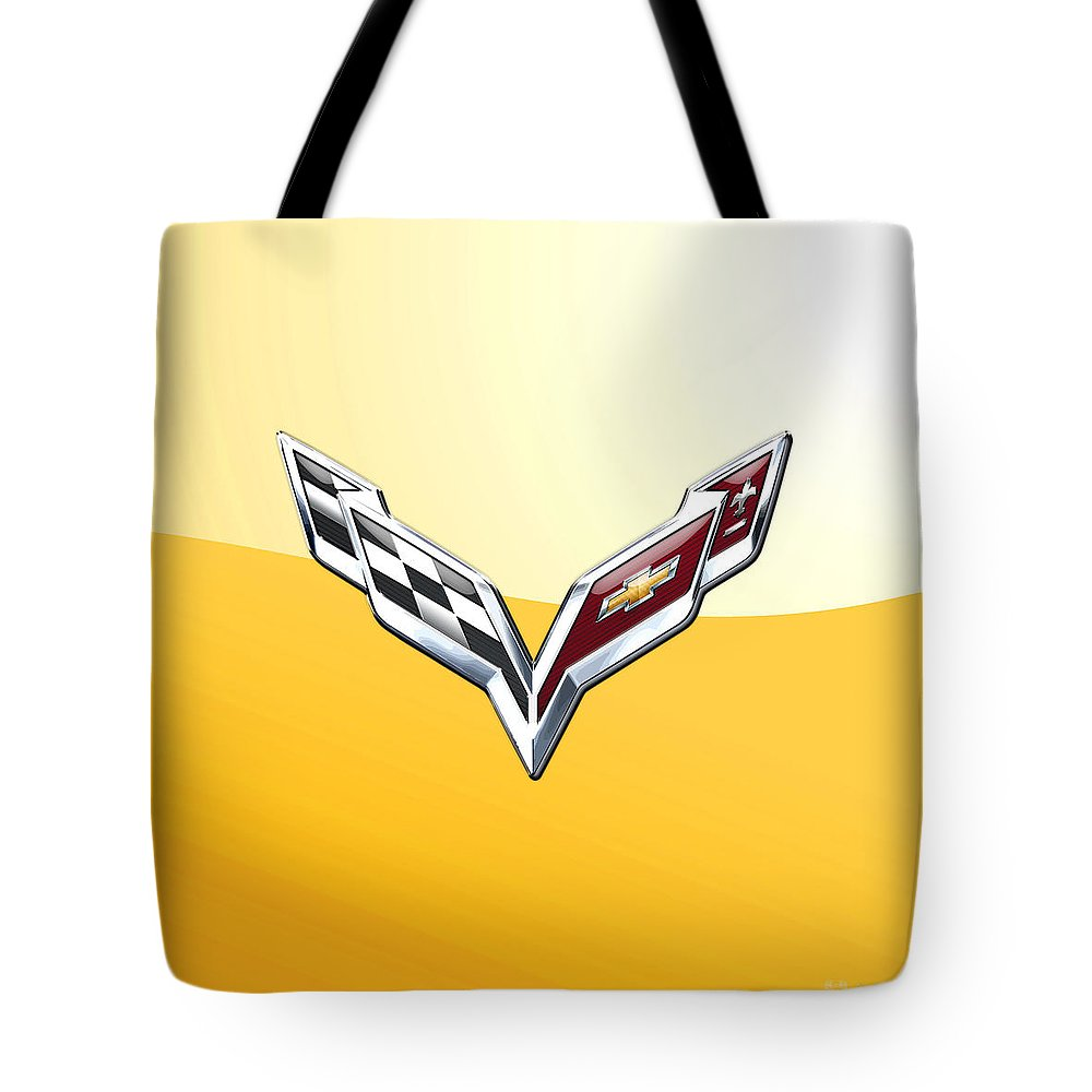 �wheels Of Fortune� Collection By Serge Averbukh Tote Bag featuring the photograph Chevrolet Corvette 3D Badge on Yellow by Serge Averbukh