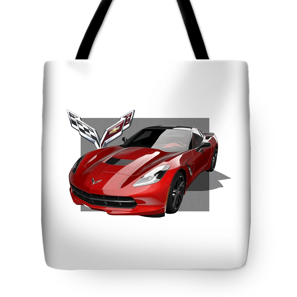�chevrolet Corvette� By Serge Averbukh Tote Bag featuring the photograph Chevrolet Corvette C 7 Stingray with 3 D Badge by Serge Averbukh