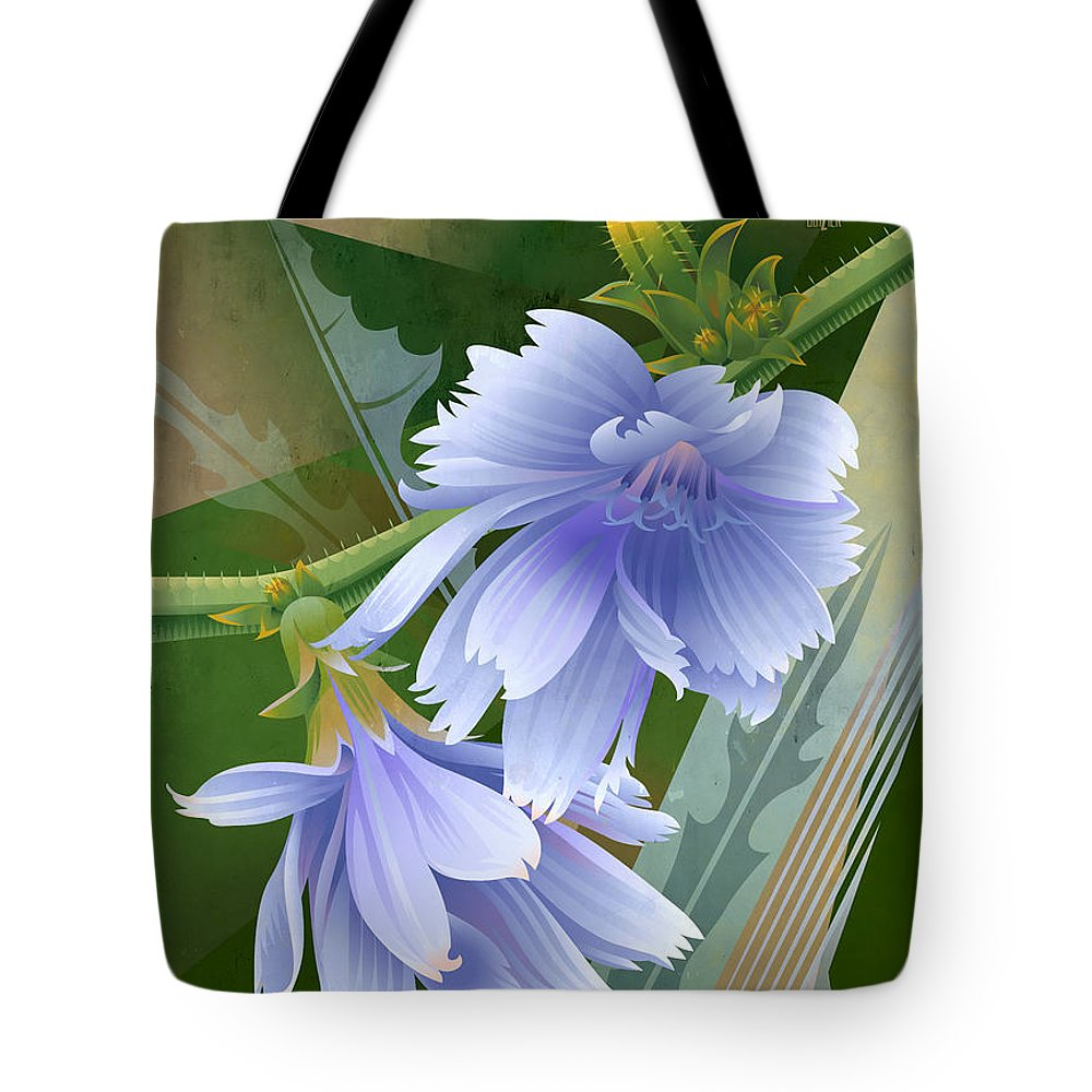 Chicory Tote Bag featuring the painting Chicory Cornflower Print by Garth Glazier