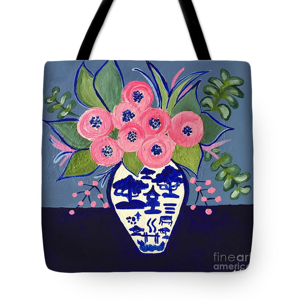 Vase Of Flowers Tote Bag featuring the painting Chinoiserie Vase by Marti Magna
