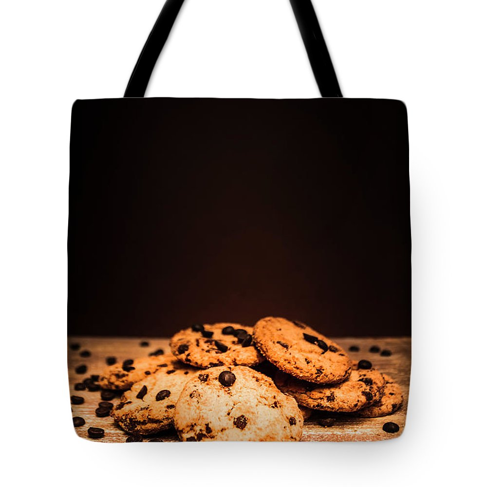 Baked Tote Bag featuring the photograph Choc Chip Biscuits 1 by Jorgo Photography - Wall Art Gallery