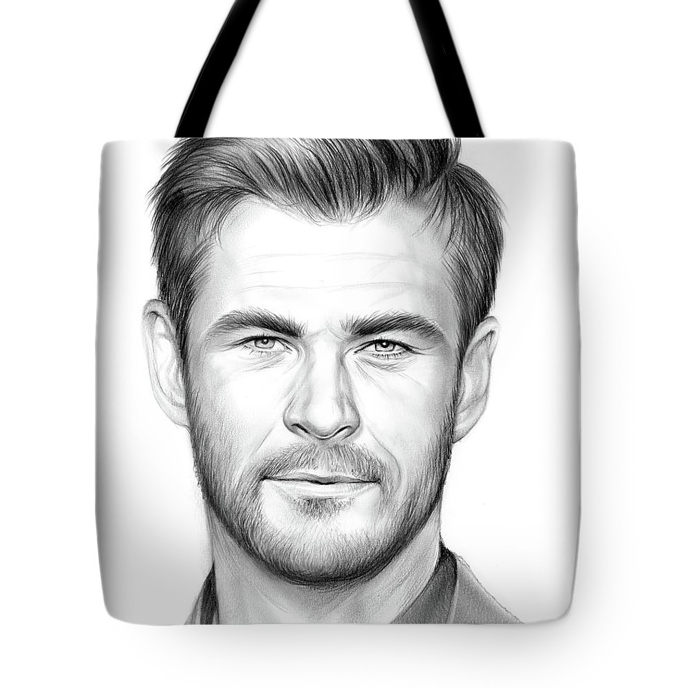 Chris Hemsworth Tote Bag featuring the drawing Chris Hemsworth by Greg Joens