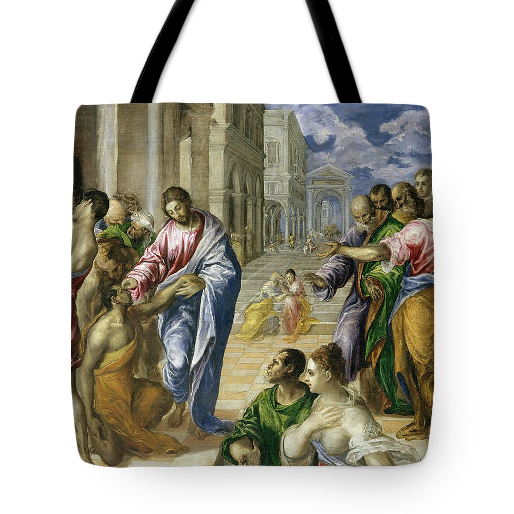 Bartimaeus Tote Bag featuring the painting Christ Healing The Blind by El Greco