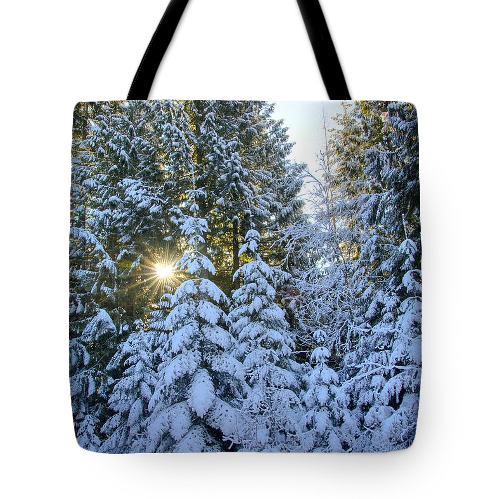 Coeur D'alene Mountains Tote Bag featuring the photograph Christmas Morning by Idaho Scenic Images Linda Lantzy