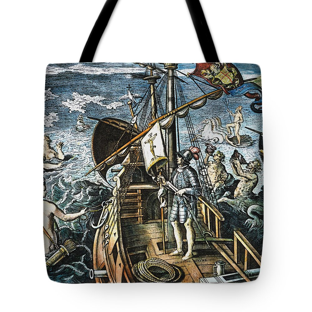 15th Century Tote Bag featuring the photograph Christopher Columbus by Granger