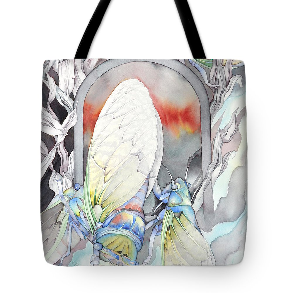 Insects Tote Bag featuring the painting Cicada Couple by Liduine Bekman
