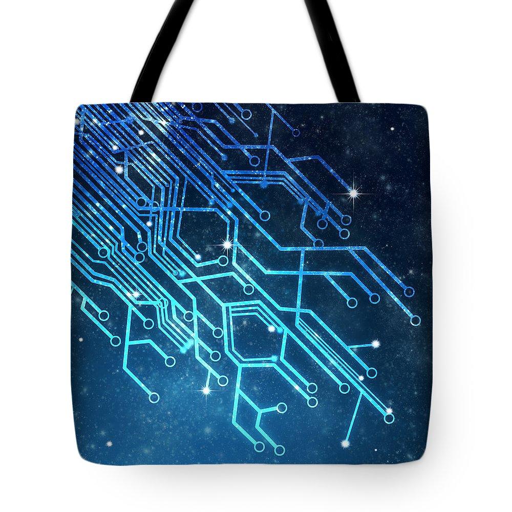 Abstract Tote Bag featuring the photograph Circuit Board Technology 1 by Setsiri Silapasuwanchai