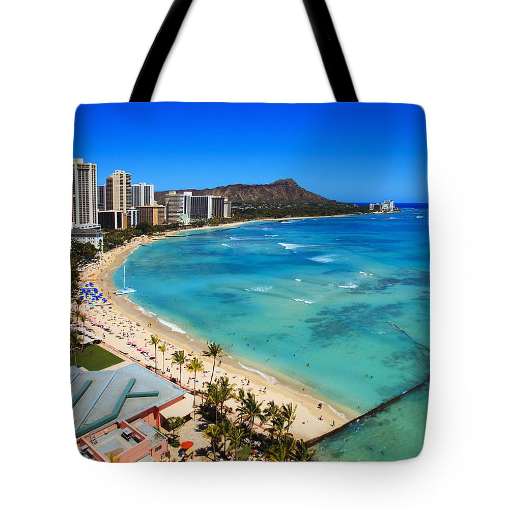 Above Tote Bag featuring the photograph Classic Waikiki by Tomas del Amo - Printscapes