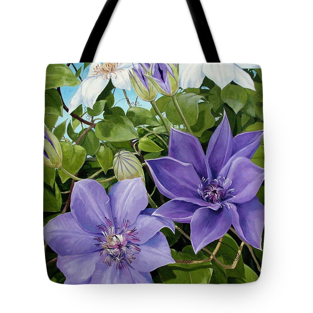 Clematis Tote Bag featuring the painting Clematis 2 by Jerrold Carton