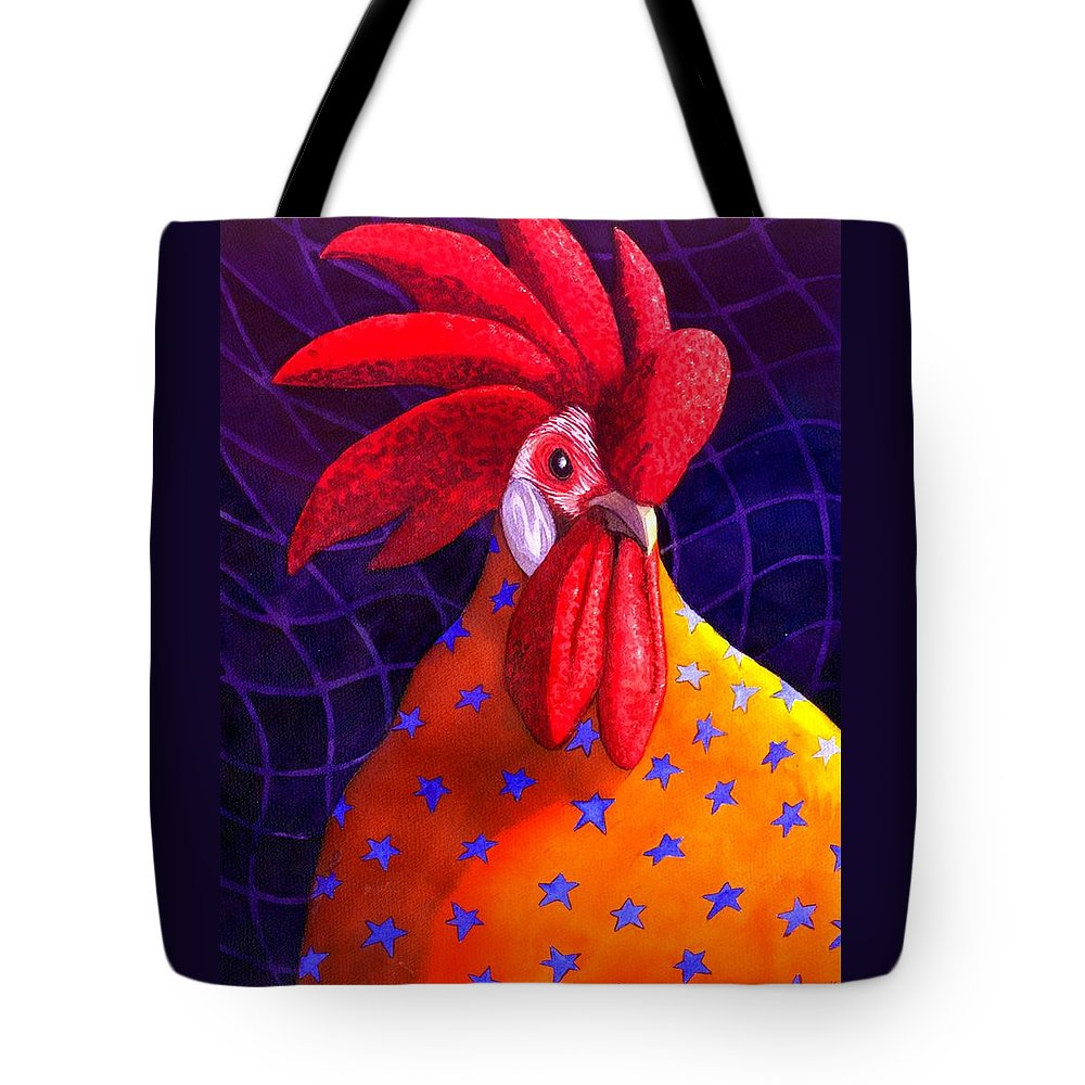 Rooster Tote Bag featuring the painting Cock A Doodle Dude by Catherine G McElroy