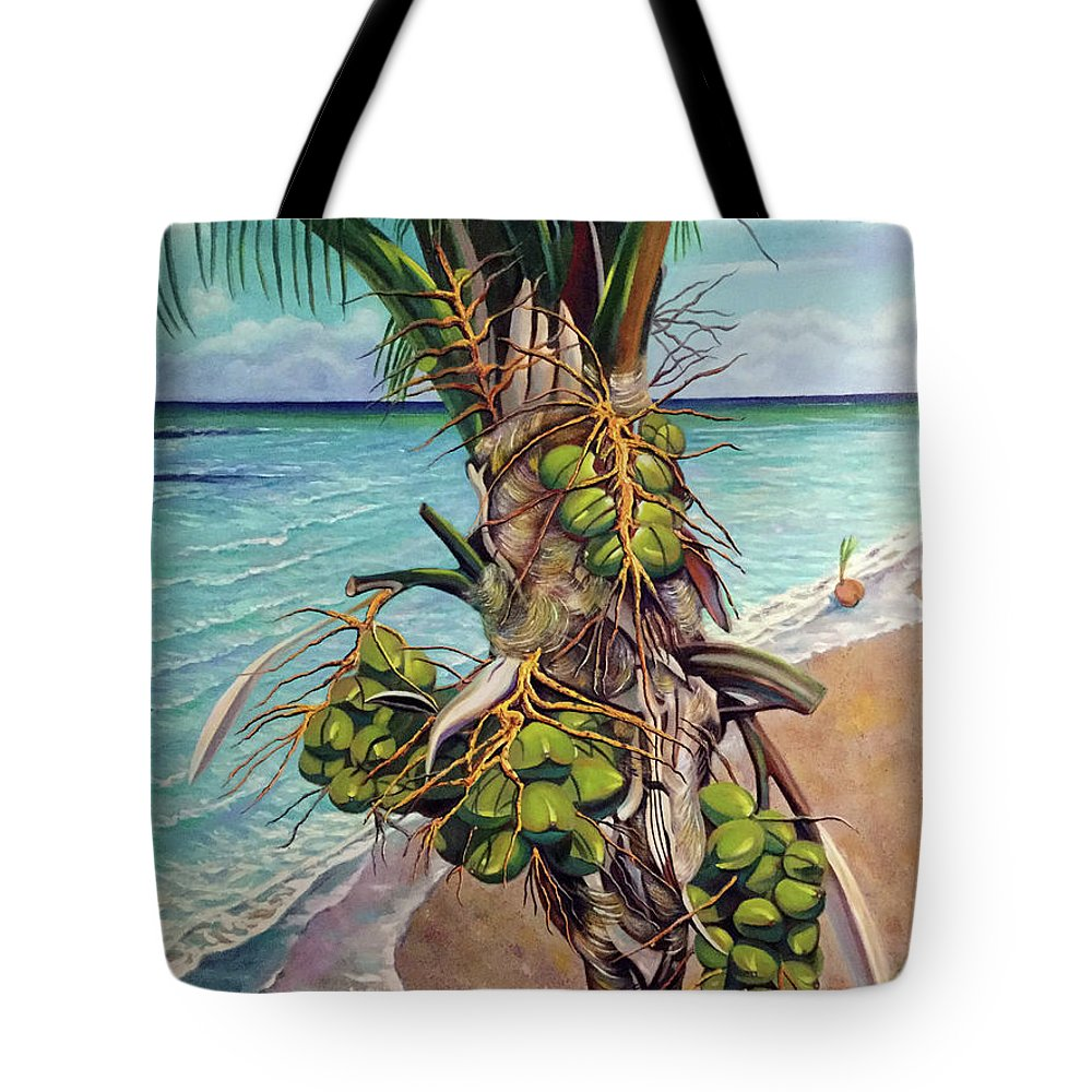 Coconuts Tote Bag featuring the painting Coconuts on beach by Jose Manuel Abraham