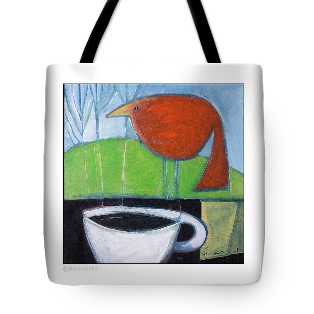 Bird Tote Bag featuring the painting Coffee With Red Bird by Tim Nyberg