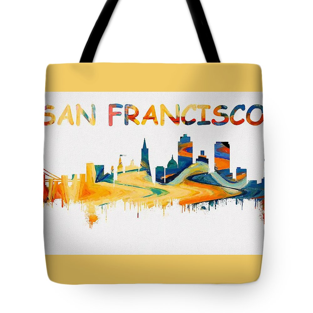 colorful san francisco skyline silhouette two tote bag for sale by
