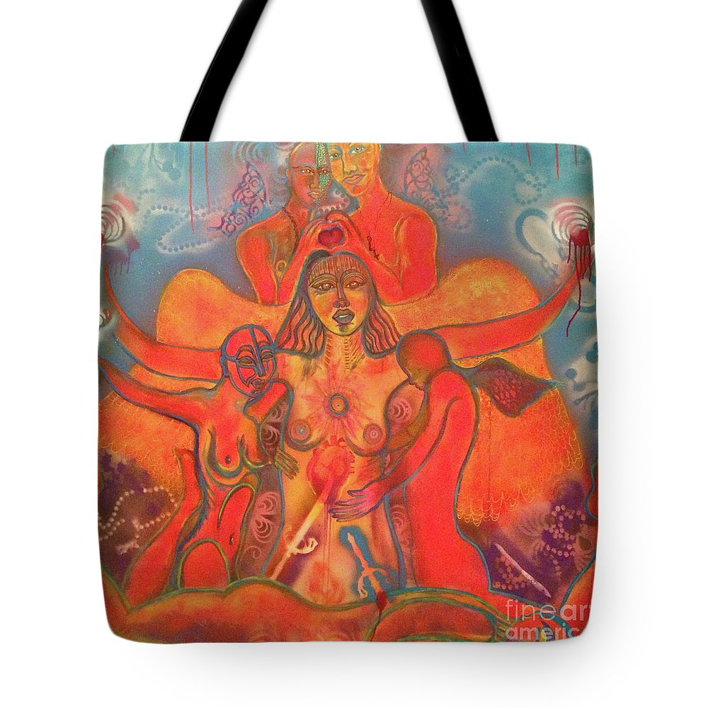 Love Tote Bag featuring the mixed media Conquer by Anita Wexler