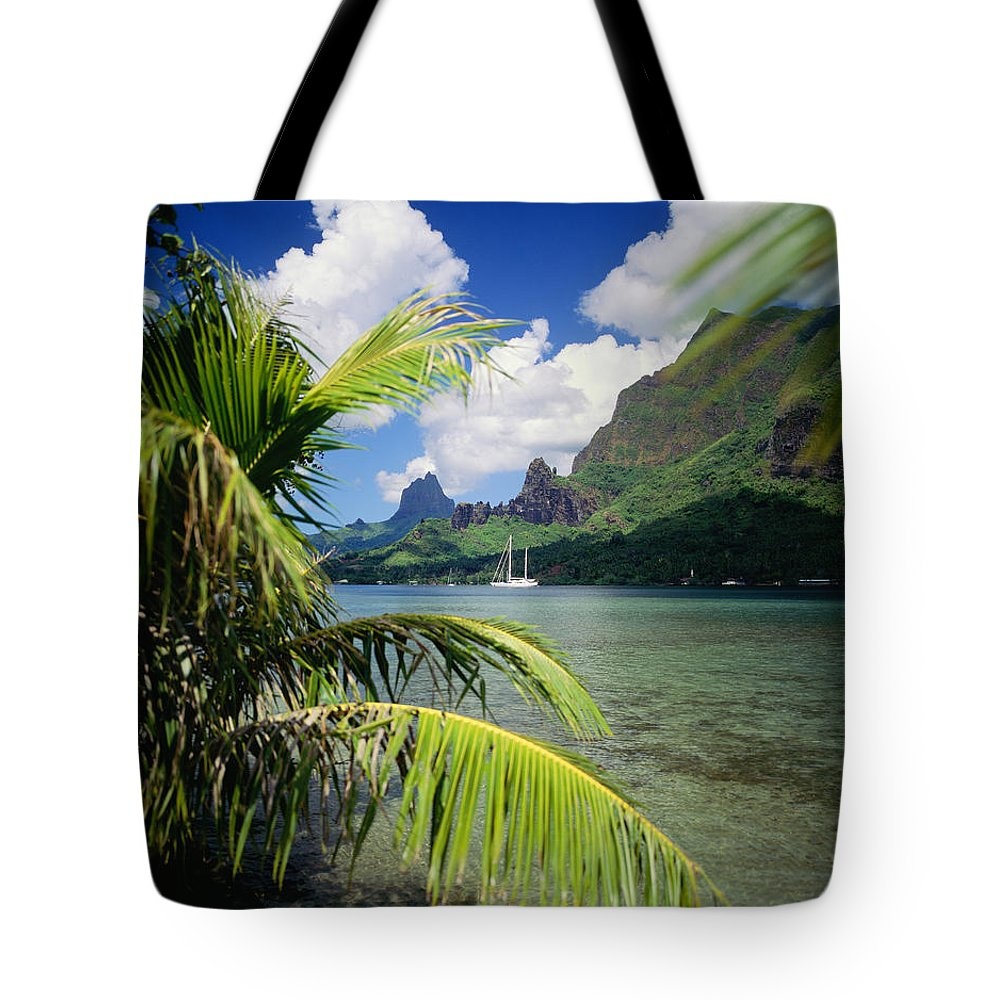 Across Tote Bag featuring the photograph Cooks Bay With Sailboat by Ron Dahlquist - Printscapes