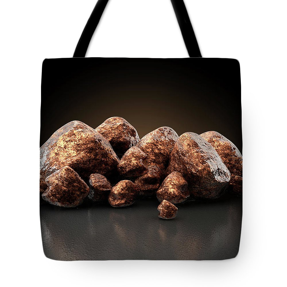 Copper Tote Bag featuring the digital art Copper Nugget Collection by Allan Swart