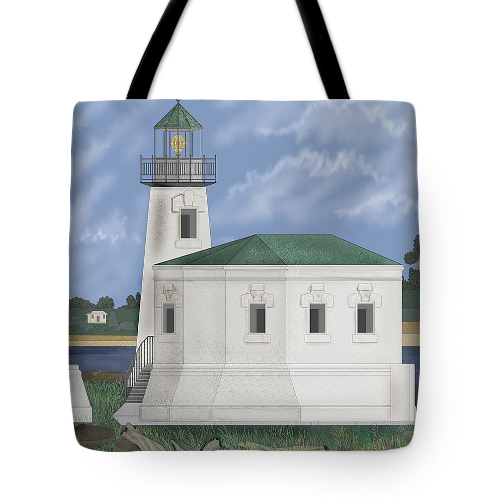Lighthouse Tote Bag featuring the painting Coquille River Lighthouse At Bandon Oregon by Anne Norskog