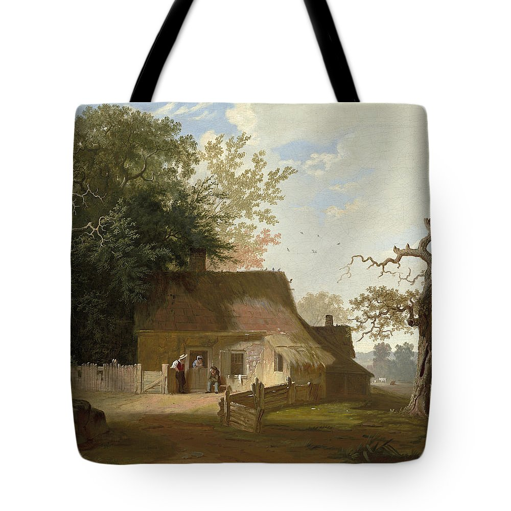 Art Tote Bag featuring the painting Cottage Scenery by George Caleb Bingham