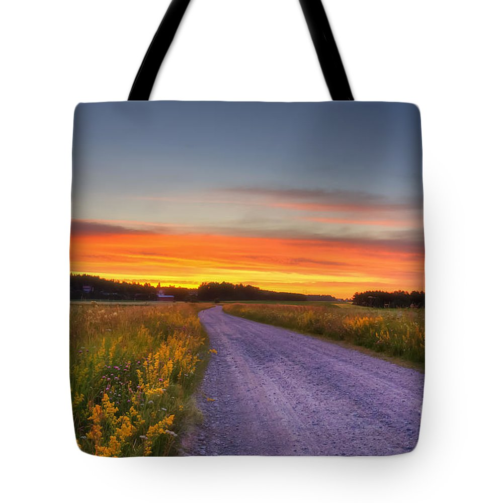 Atmosphere Tote Bag featuring the photograph Country Road by Veikko Suikkanen