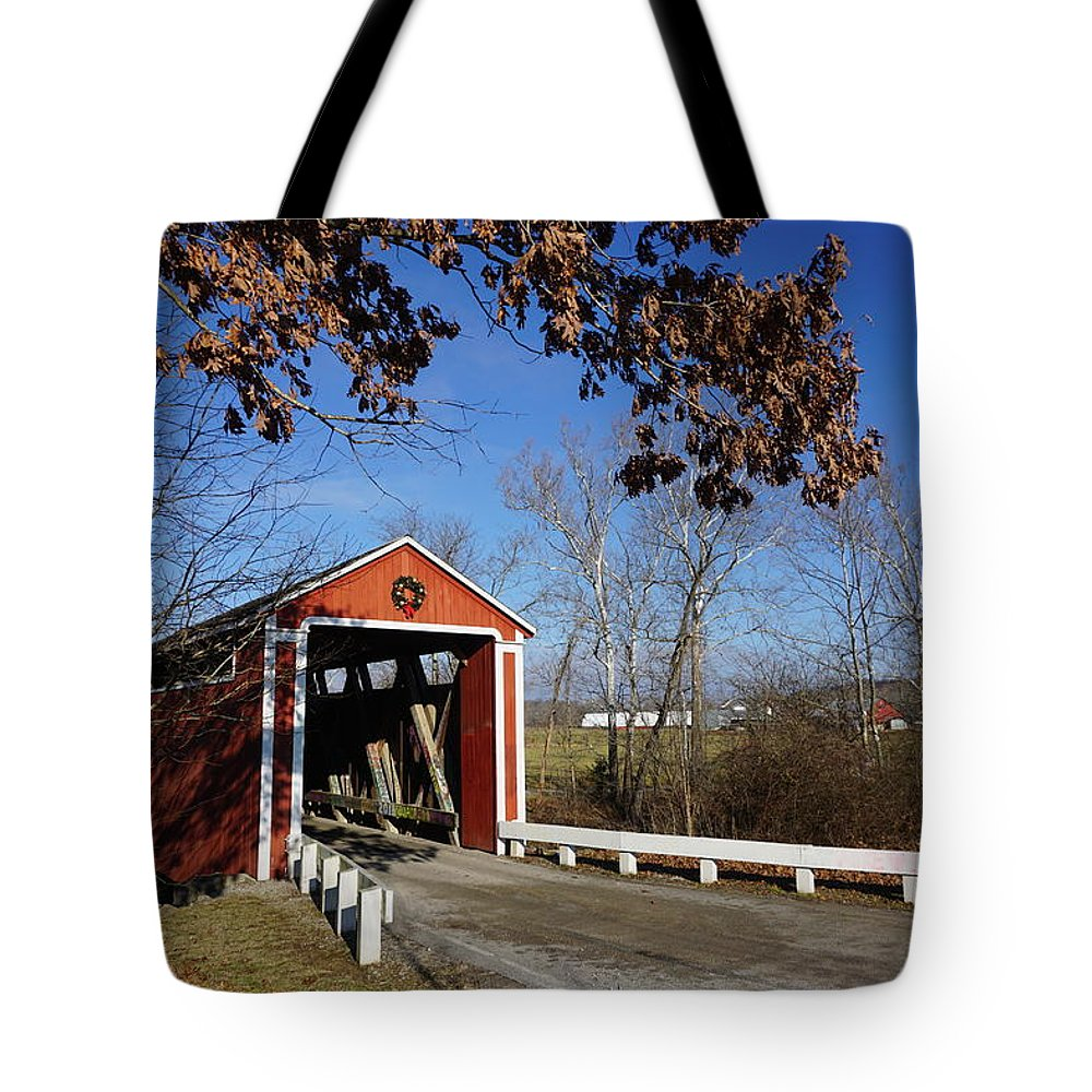 Indiana Tote Bag featuring the photograph Covered Bridge by Red Cross