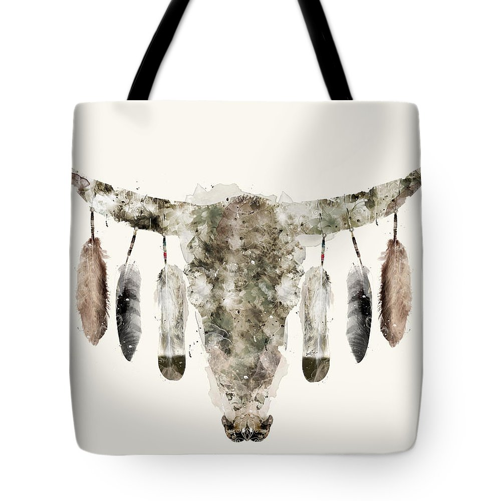 Cow Skull Tote Bag featuring the painting Cow Skull by Bri Buckley