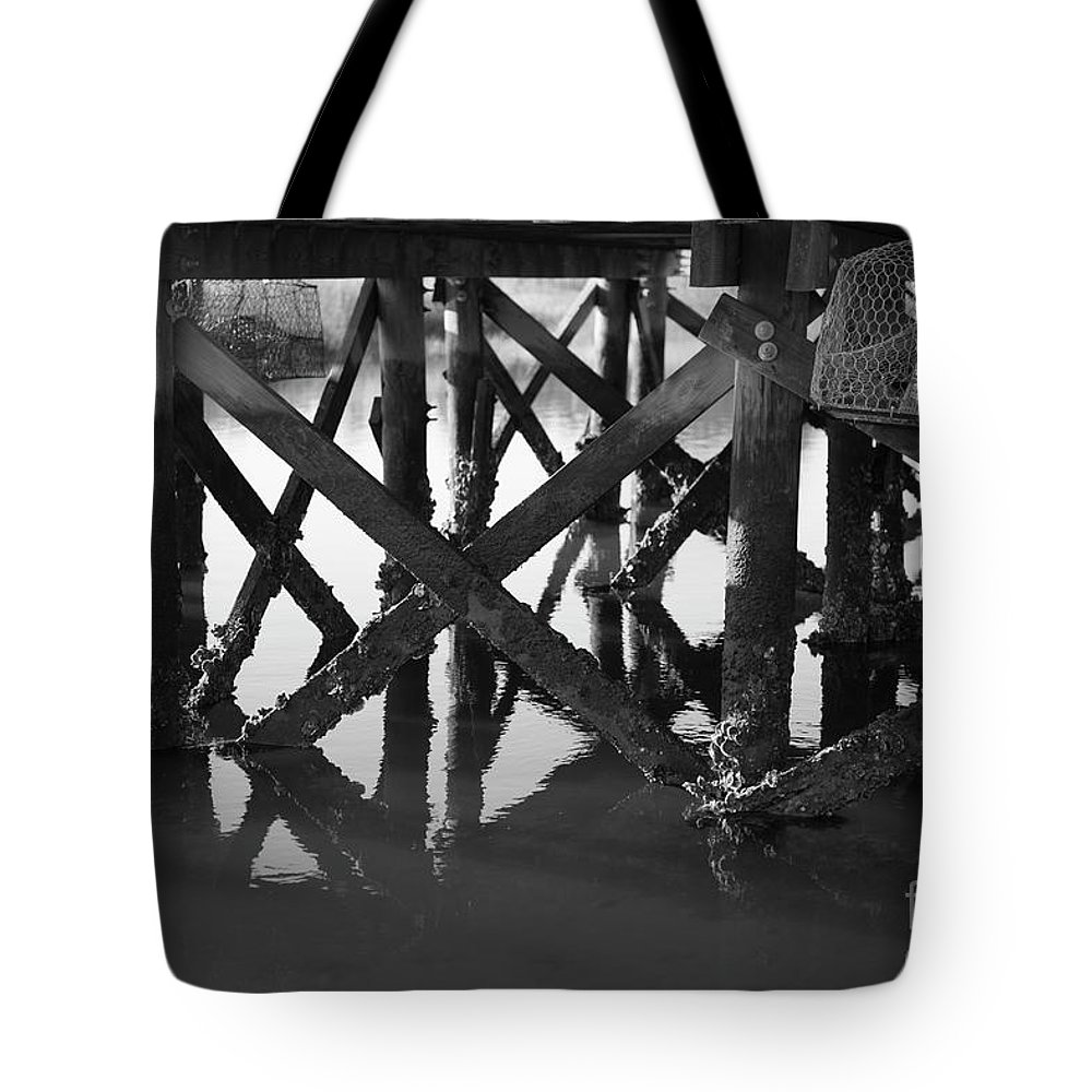 Dock Tote Bag featuring the photograph Crab Traps by Dale Powell