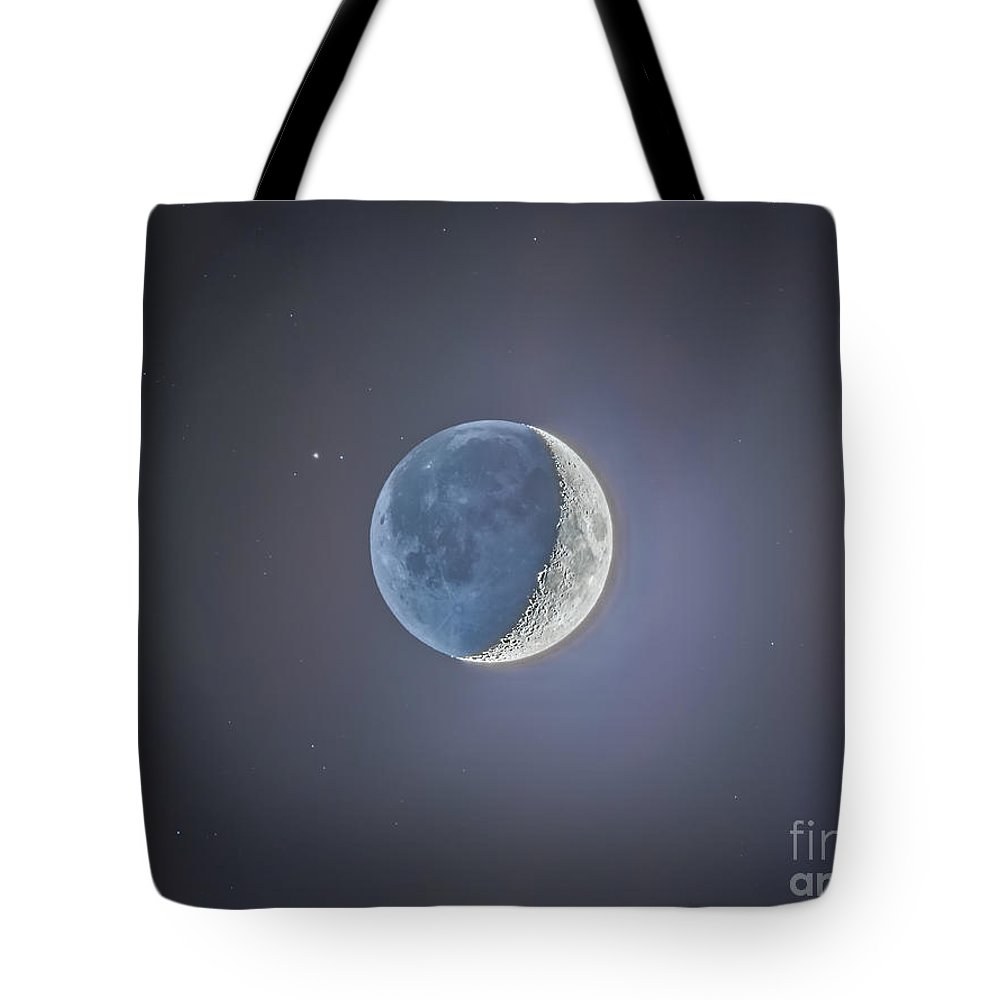 Beta Capricorni Tote Bag featuring the photograph Crescent Moon With Earthshine by Alan Dyer