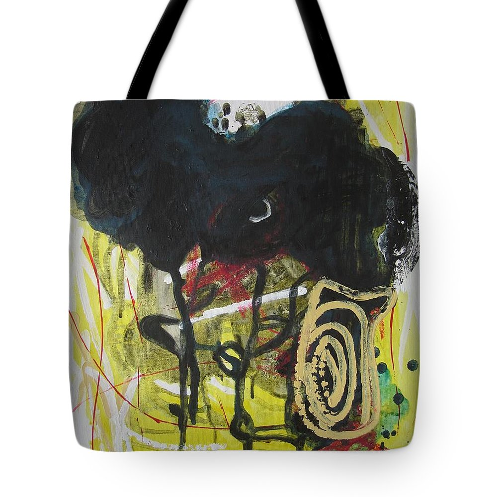 Abstract Paintings Tote Bag featuring the painting Crescent2 by Seon-Jeong Kim