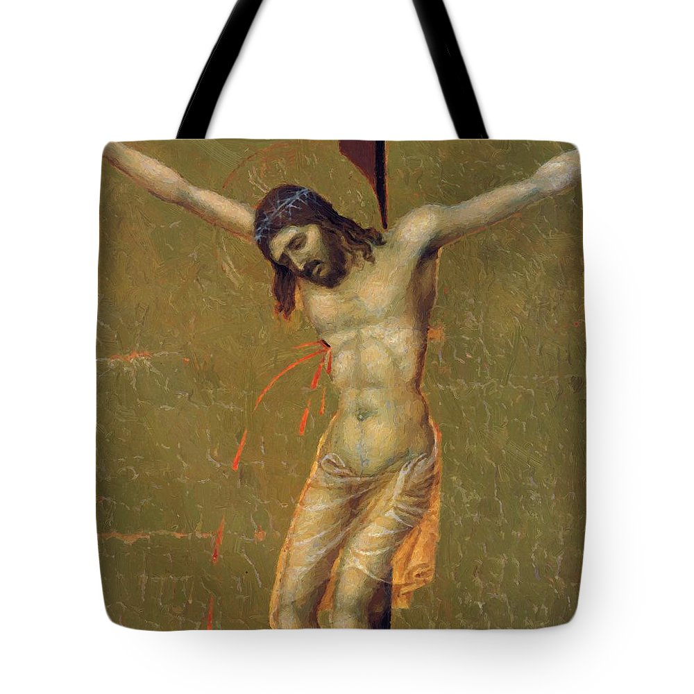 Crucifixion Tote Bag featuring the painting Crucifixion Fragment 1311 by Duccio