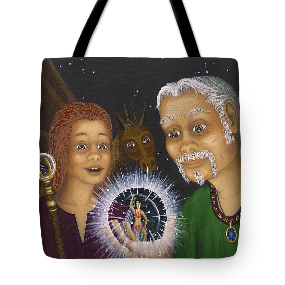 Fantasy Tote Bag featuring the painting Crystal Ball by Roz Eve