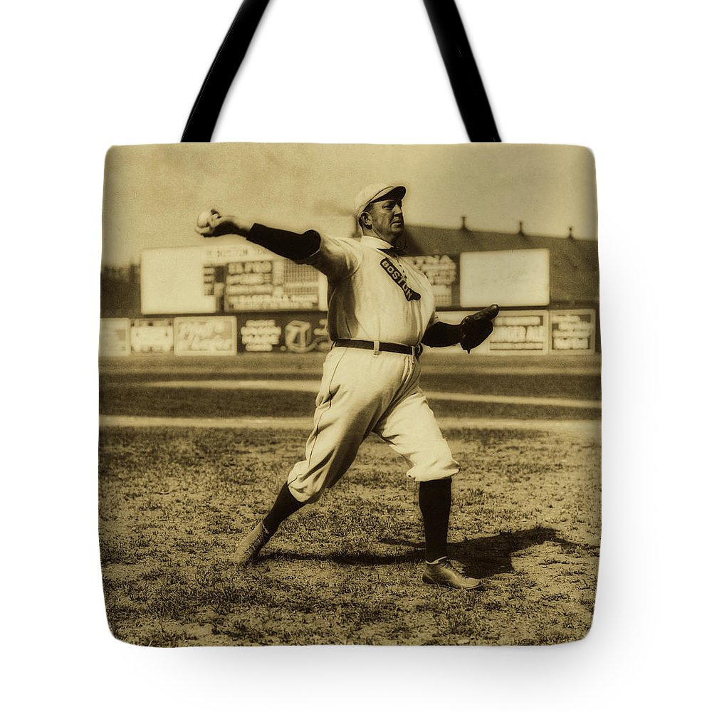 Old Photographs Tote Bag featuring the photograph Cy Young With The Boston Americans 1908 by Library Of Congress
