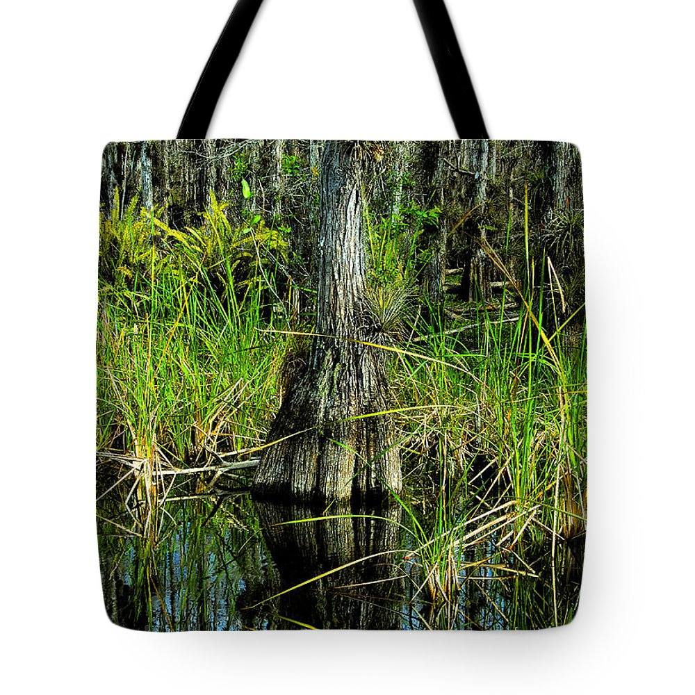 Cypress Trees Tote Bag featuring the painting Cypress Tree by David Lee Thompson