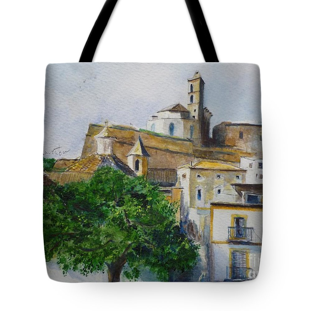 Buildings Tote Bag featuring the painting D Alt Vila Ibiza Old Town by Lizzy Forrester