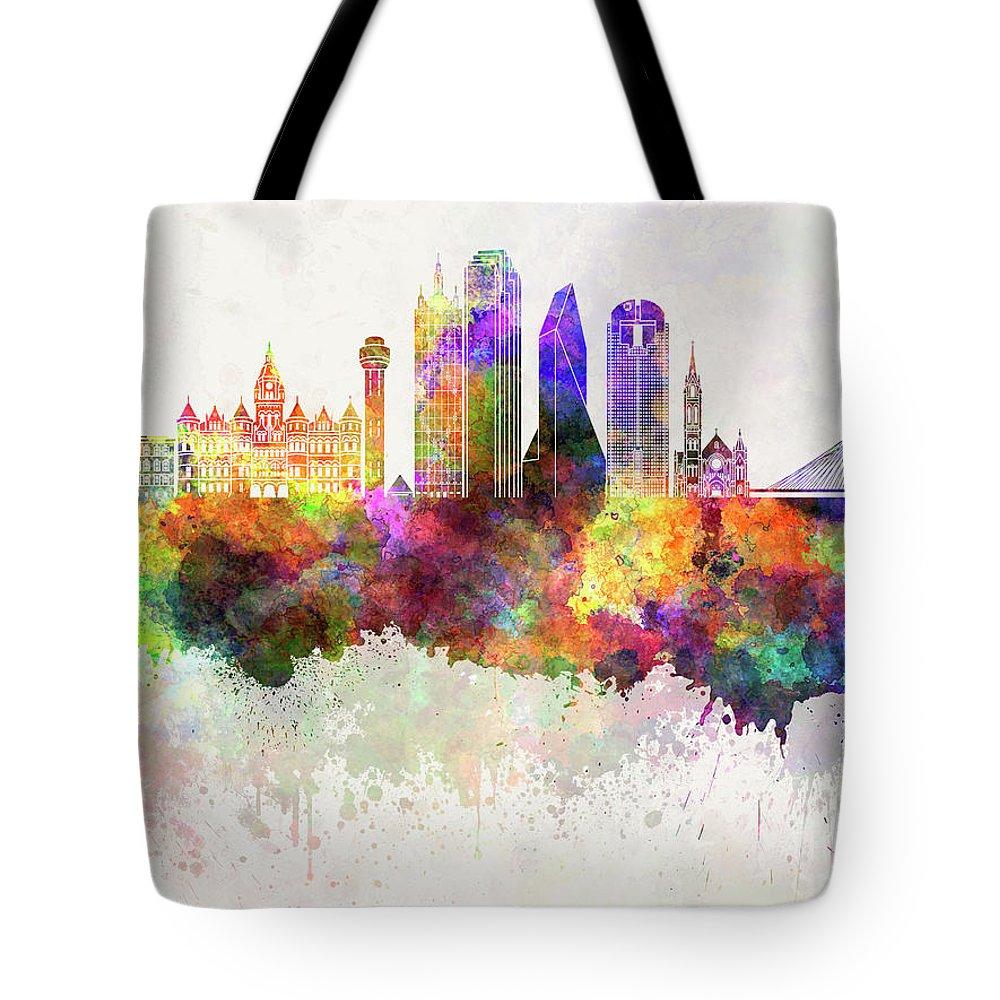 d83fc3f3e Dallas Tote Bag featuring the painting Dallas Skyline In Watercolor  Background by Pablo Romero
