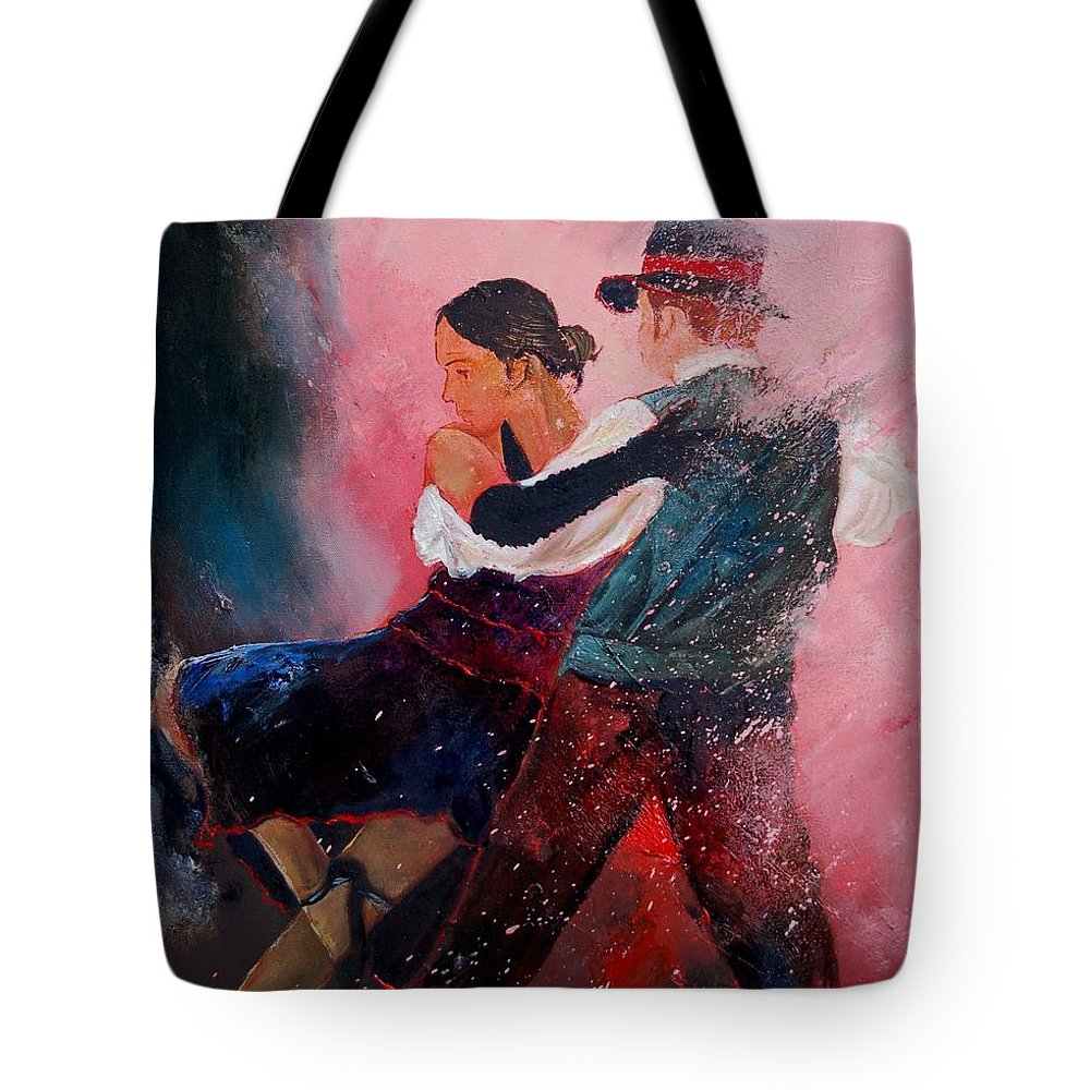 Music Tote Bag featuring the painting Dancing Tango by Pol Ledent