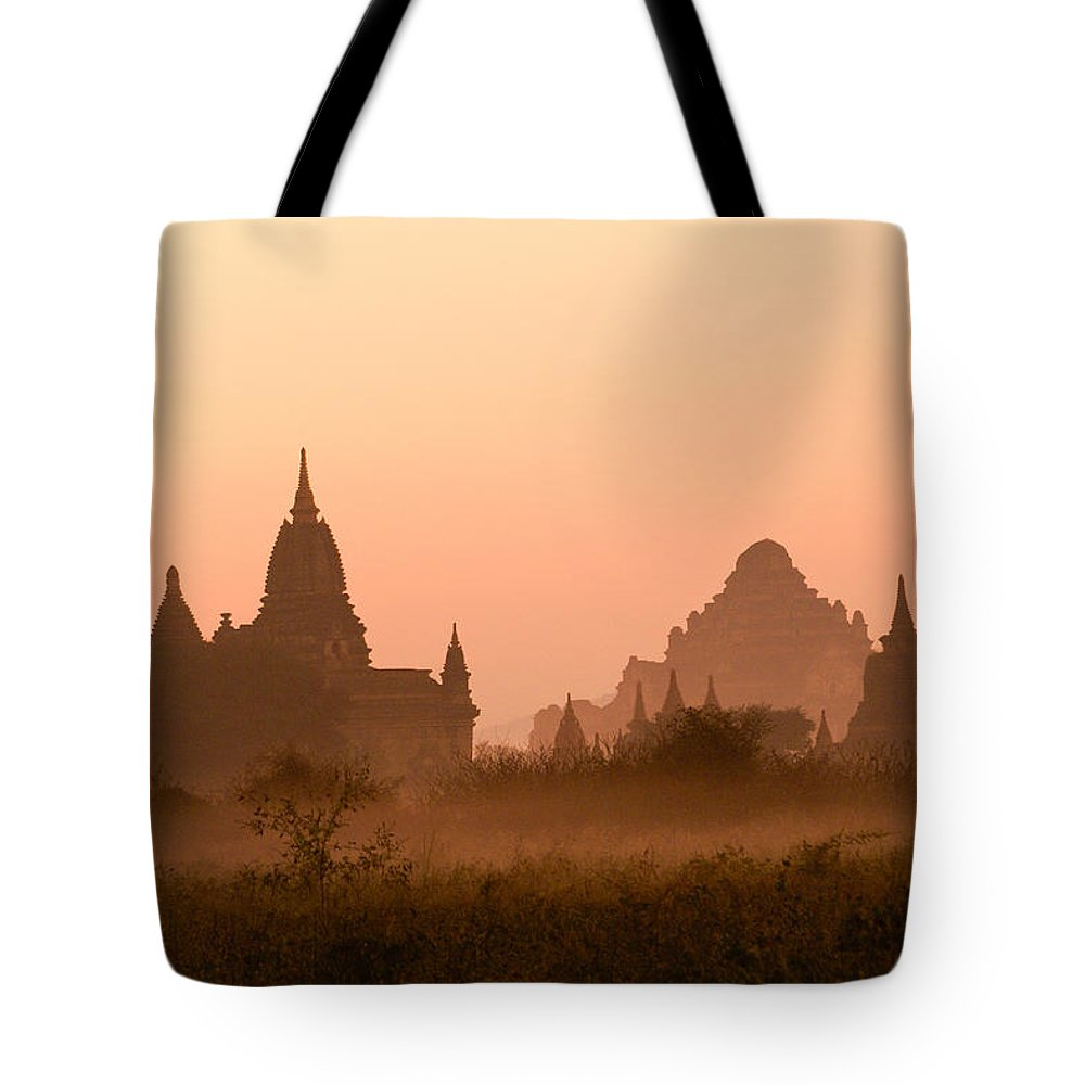 Sunrise Tote Bag featuring the photograph Dawn In Burma by Michele Burgess