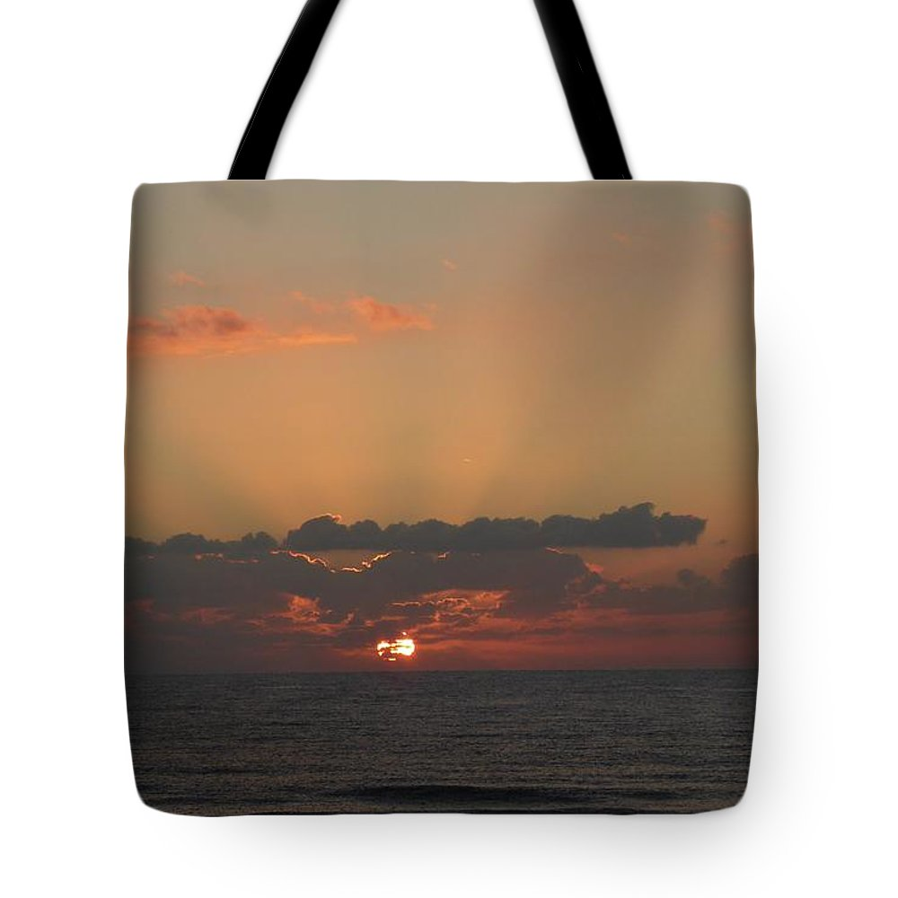 Sunrise Tote Bag featuring the painting Day Dawns by Rayne Van Sing