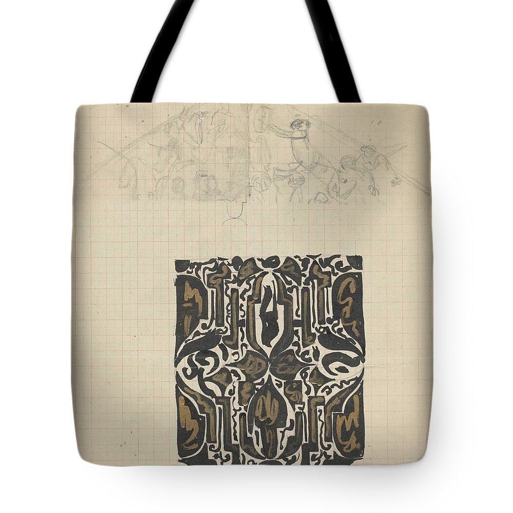 Pattern Tote Bag featuring the painting Decorative Design And Sketch Of The Front Tympanum Of The Royal Palace In Amsterdam, Carel Adolph Li by Carel Adolph Lion Cachet