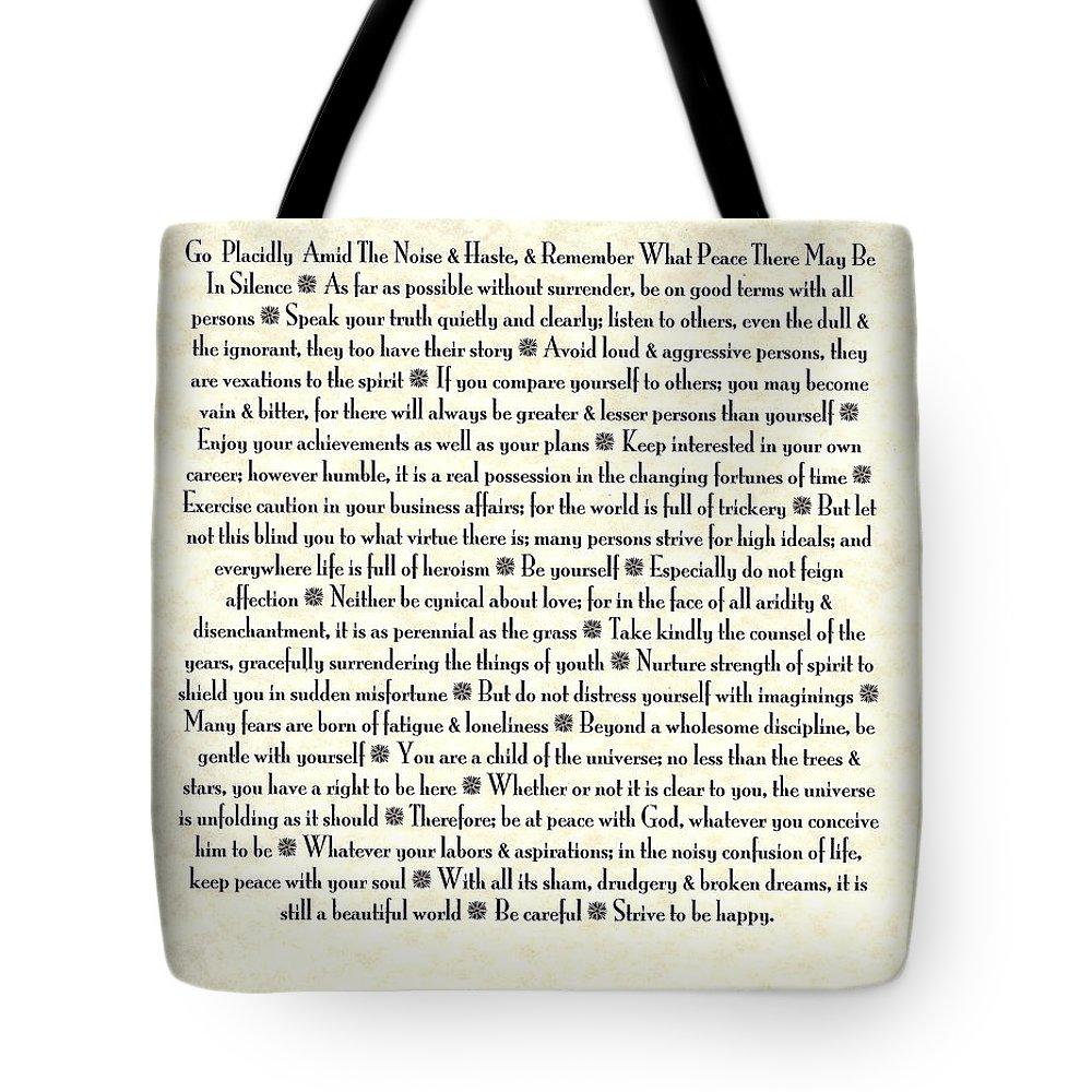 Desiderata Tote Bag featuring the mixed media Desiderata 17 by Desiderata Gallery