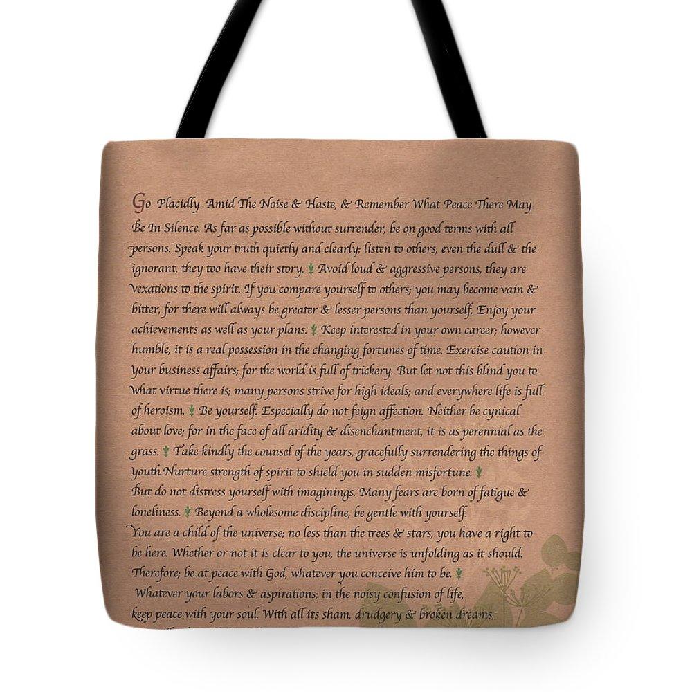 Desiderata Tote Bag featuring the drawing Desiderata 9 by Desiderata Gallery