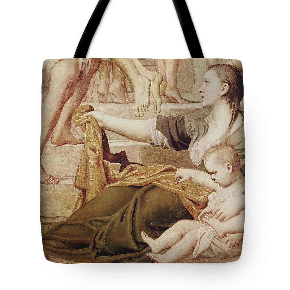 Religion Tote Bag featuring the painting Detail Of Saint Cecilia Distributing Alms by Domenichino